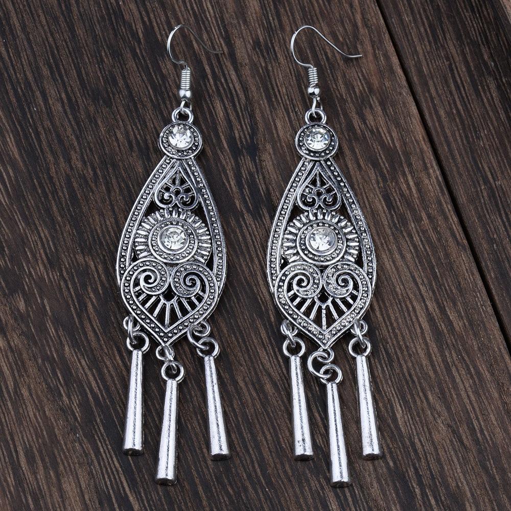 ETÀ ETICA etnica tibetana color argento cava geometrica lunga - Bigiotteria - Fotografia 4