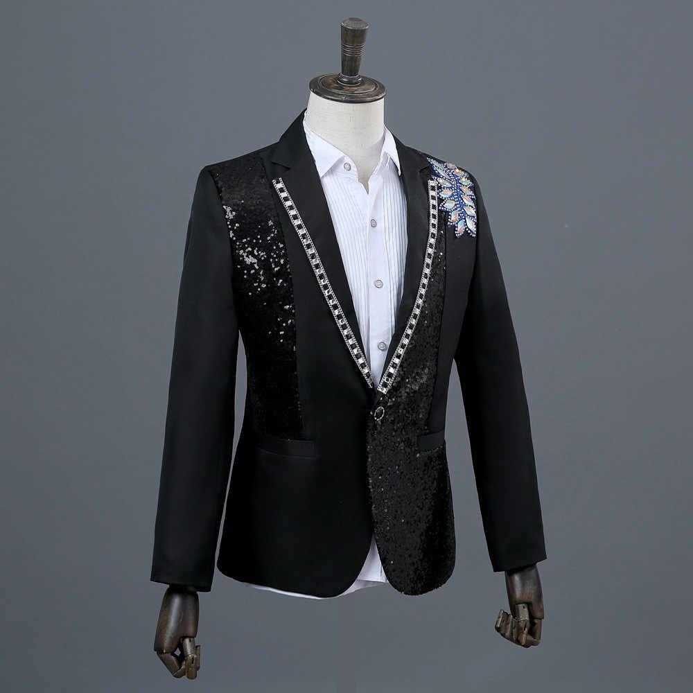 (ジャケット + パンツ) 黒白人男性のスーツクリスタルスパンコールセットナイトクラブ歌手ホストステージ衣装結婚式のマスターパフォーマンス衣装