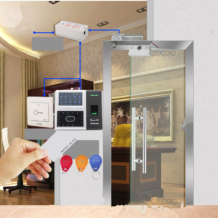 Face recognition iface302 RFID card reader for single glass door complete set full kit with deadbolt lock bracket remote control