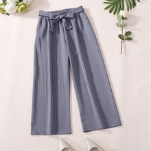 Fashion Women Casual Pants Loose Striped Pants High Waist Wide Leg Pants Summer Sashes Trousers