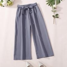 купить Fashion Women Casual Pants Loose Striped Pants High Waist Wide Leg Pants Summer Sashes Trousers по цене 627.25 рублей