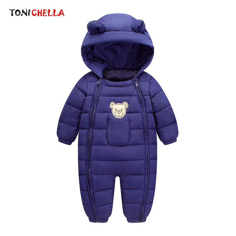 5740dbf811330 Winter Baby Snow Wear Thick Warm Clothes Newborns Polyester Material Kids  Infants Hooded Outwear Boys Girls