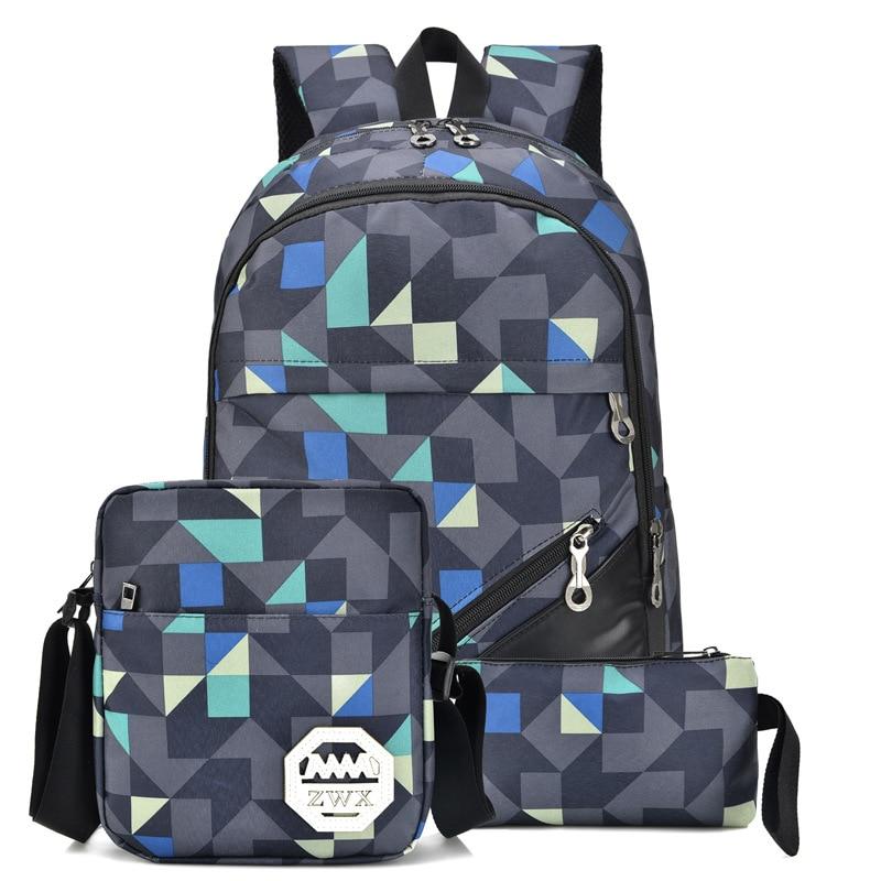 3Pcs Boys Girl School Student Book Bags Shoulder Backpack Teenagers Laptop Bag