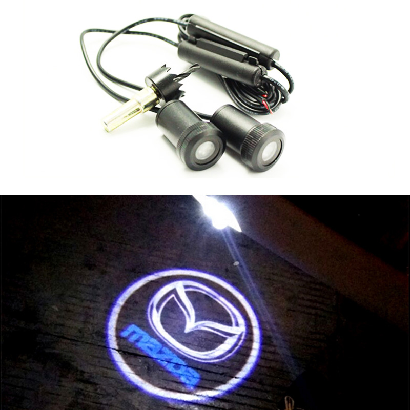 2 pieces LED Car door logo light ghost shadow light fit for Mazda 323 626 cx-5 3 6 8 Atenza 2pcs 5th car led door light for for m 2 3 5 6 cx 5 cx 7 cx 9 rx8 logo projector ghost shadow welcome light