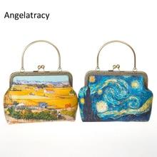 Angelatracy Oil Painting Womens Mini Bags Landscape Metal Frame Bag Yellow Blue van gogh Wheat field Starry Sky Chain Handbag