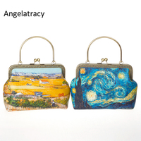 Angelatracy Oil Painting Womens Mini Bags Landscape Metal Frame Bag Yellow Blue van gogh Wheat field Starry Sky Chain Handbag