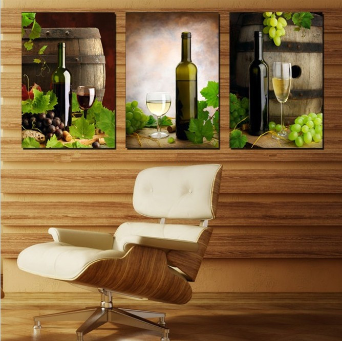 Modern Canvas Art 3 Piece Wall Painting Kitchen Wine Home Decorative Picture Paint On Prints Pictures No Frame In Calligraphy