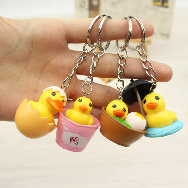 4pcs Mixed Cute yellow duck Keychain Lovely Cartoon Animal Bag Hanging Pendant Decoration for Men Women Keyring