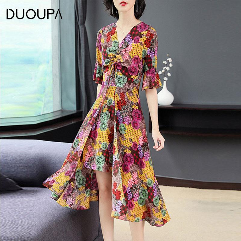 DUOUPA 2019 Summer nNew Sexy V-neck Simulation Silk Retro Openwork Flowing fForal Long Irregular Dress