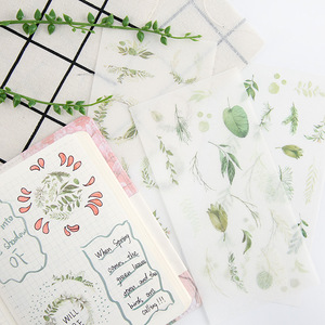 6 штук упак. зеленые листья растения декоративные наклейки Клейкие наклейки DIY украшения дневник канцелярские наклейки детский подарок