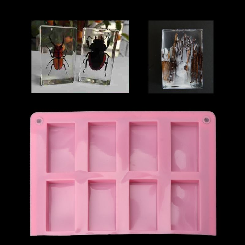 8 Cavities Rectangle Cuboid Silicone Mold Soap Dried Flower Resin Mold DIY Tools