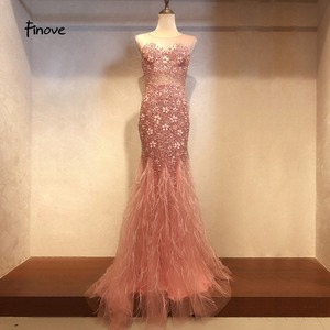 Image 5 - New Arrival Long Evening Dresses 2020 Short Sleeves with Beaded Feather Floor Length Mermaid Prom Dress scoop neck vestid
