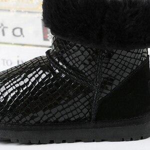 Image 4 - Yeni kadın botları klasik su geçirmez kışlık botlar avustralya yüksek kaliteli kar botları hakiki deri sıcak siyah ayakkabı kadın için