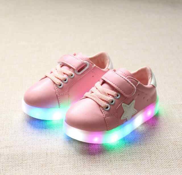 New Boys Girls Children Led Kids Light Up Sports Shoes Luminous Glowing PU Breathable Sneakers Flats  Shoes Size 21-30