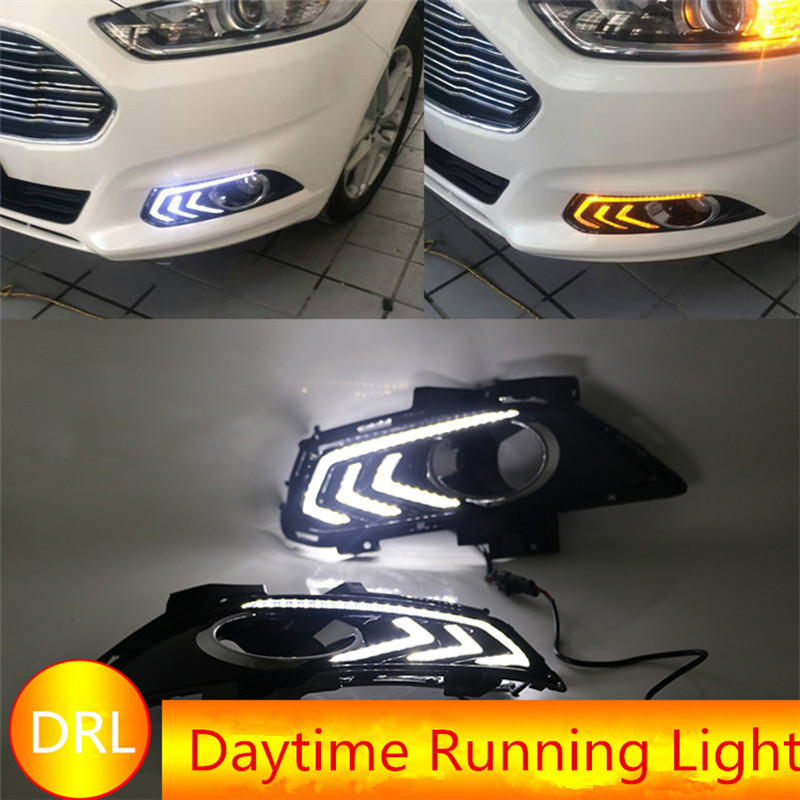 купить Brand New For Ford Mondeo Fusion 2013 2014 2015 12V LED Daytime Running Light Yellow Signal Car DRL With Fog Lamp Hole недорого