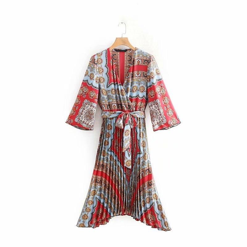 2019 Frauen Vintage Kreuz V-ausschnitt Totem Floral Druck Asymmetrische Kleid Weibliche Retro Bogen Gebunden Schärpen Vestidos Falten Kleid Ds1895