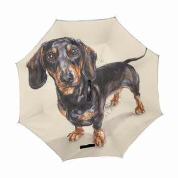ความปรารถนา Dachshund พับร่มย้อนกลับ Double - Deck Inverted Windproof ฝนรถร่ม C ผู้ถือขาตั้งร่มสุนัข - DISCOUNT ITEM  21% OFF บ้านและสวน