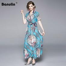 Banulin Summer Fashion Runway Short Sleeve Dress Womens V-Neck Vintage Gorgeous Floral Print Maxi Pleated Shirt Dresss