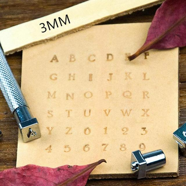 36Pcs Alphabet Letter Leather Stamper Set 3mm/6mm Steel Punch Metal Leather Punching Tools for DIY Leather Craft Tools