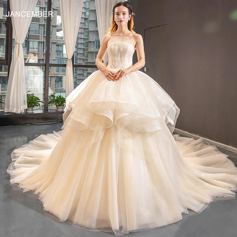 J66852 Jancember Luxury Wedding Dress 2019 Strapless Ball Gown Champagne Floor Length New Design Bridal Dress Vestito Da Sposa