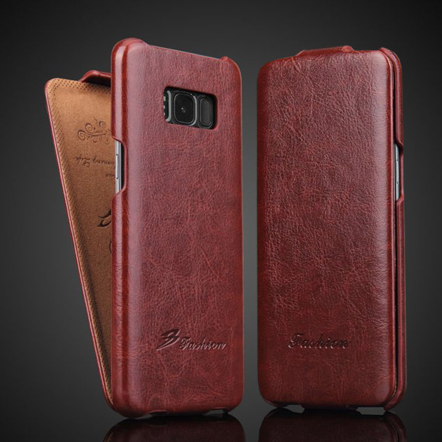 Genuine <font><b>Leather</b></font> Vertical <font><b>Flip</b></font> Cover <font><b>Case</b></font> for <font><b>Samsung</b></font> Galaxy S10 <font><b>S7</b></font> Edge S9 S8 Plus Luxury Fundas with Free Gift Screen Protector image