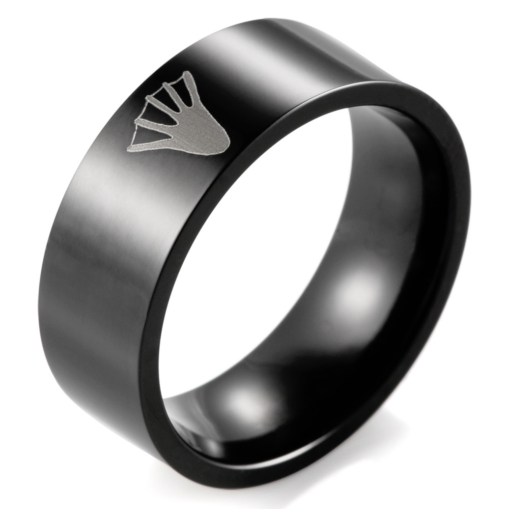 Shardon Black Titanium Duck Beaver Tracking Ring Men's Outdoor Hunting Wedding  Band(china (mainland
