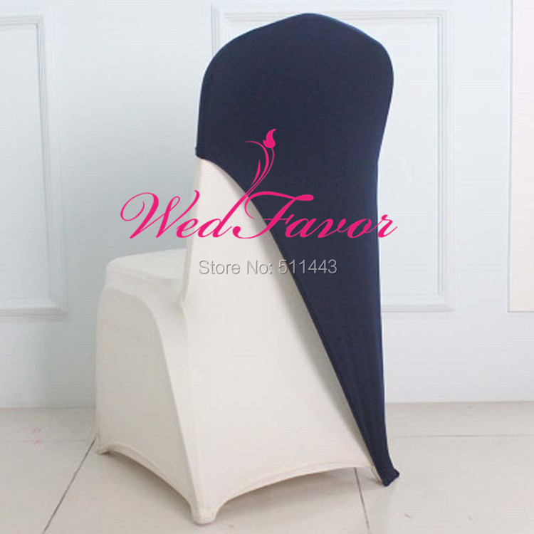 Blue Spandex Chair Covers Recovering Cushions 100pcs Lycra Cover Caps Stretch Hood Elastic Wedding Sash Bands For Banquet Party Decoration
