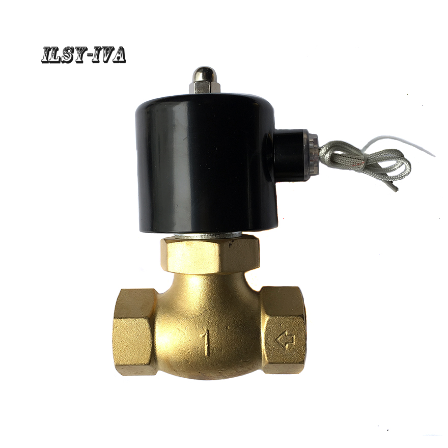 G1 DN25 two way brass solenoid valve,DC24V 2L/US high-temperature high-pressure steam Normally closed solenoid valve 1 2bspt 2position 2way nc hi temp brass steam solenoid valve ptfe pilot