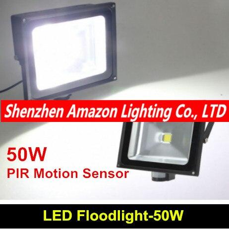 PIR High Power 50W LED Sensor Flood light 85 265V PIR led flood lamp from factory free shipping
