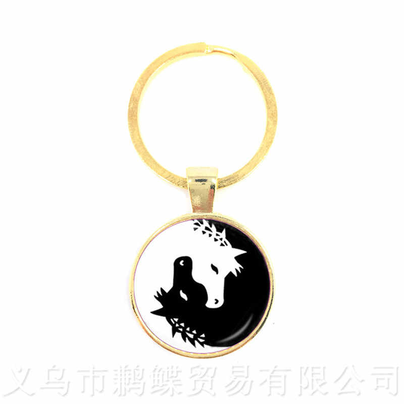 Yin-Yang Ying Yang Da Corrente Chave Mágica Sinal Zen Boho Estilo Chaveiro Keyholder Cabochon De Vidro Árvore Da Vida Para homens Mulheres Presente Da Menina