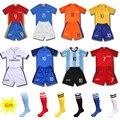 2016/17 Messi 10 Início Kits de Futebol Terno Camisa E Meias de Futebol Treino Sportwear Crianças Menino Fãs Traje Para Os Meninos 3-15Yrs