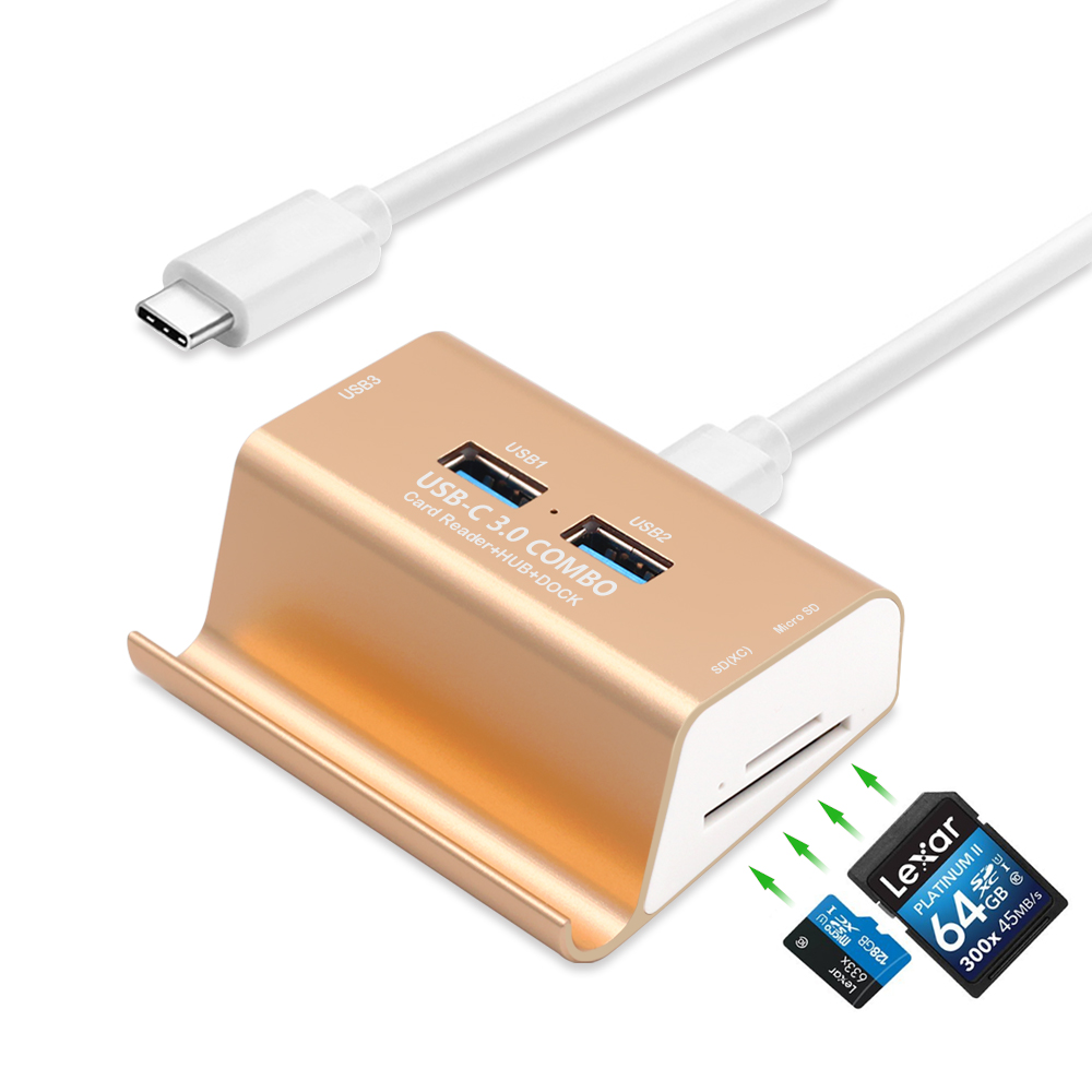 USB C HUB 3 Ports USB 3.0 Type C Hub with SD/Micro SD Card Reader USB-C Splitter for Macbook with Phone Holder + 1M Type-C Cable usb 3 1 type c to 7 ports usb 3 0 hub high speed usb c type c cable hub usb 5v 4a for pc computer laptop