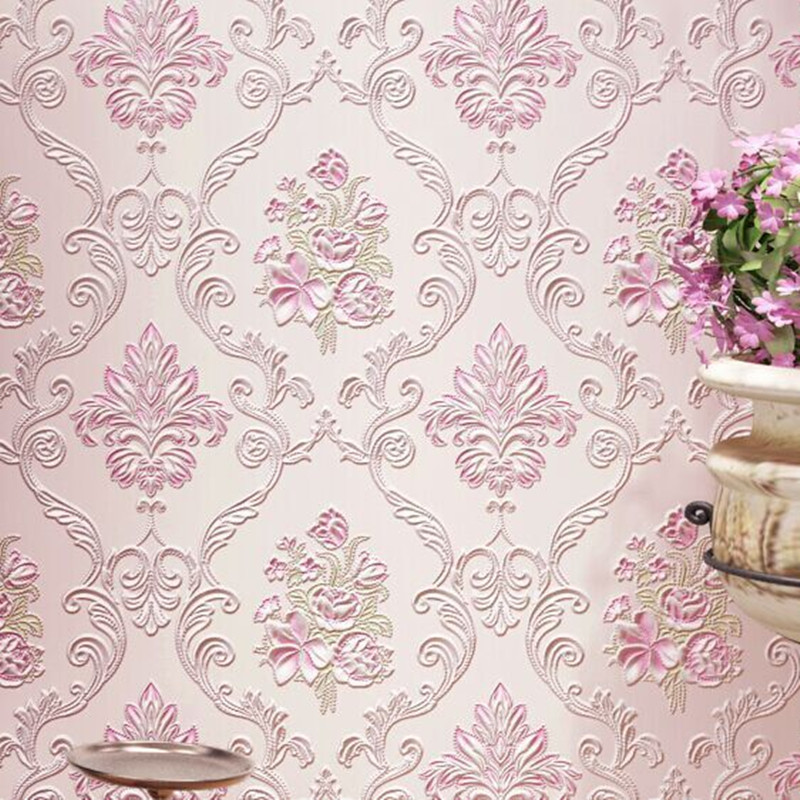 New Past Wallpaper Damask Striped Red Flower Wall Paper For Bedroom Pink Fl Mural Wedding House In Wallpapers From Home Improvement