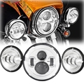 "7"" LED Projector Daymaker+4.5"" Headlight Passing Lights For Harley Touring Road"