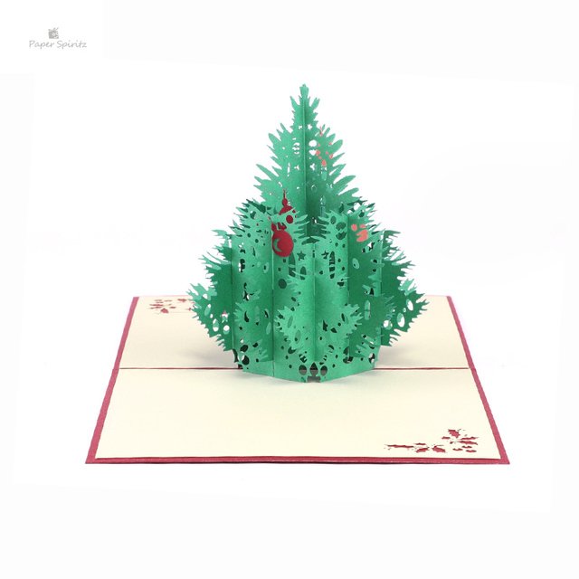Red 3D Merry Christmas Tree 3D laser cut pop up paper bulk handmade ...