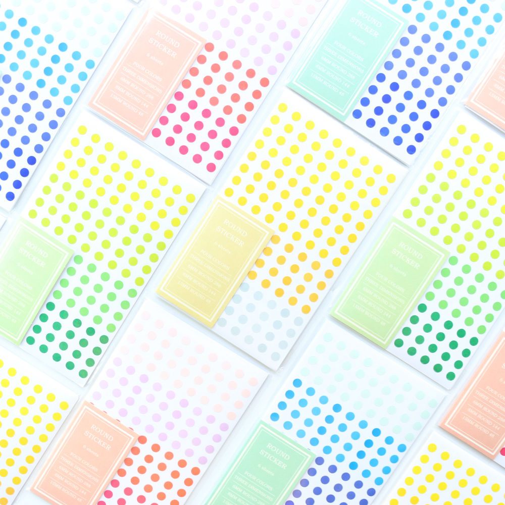 Domikee New Colorful Dot Design School Student Decoration Stickers For Diary Notebooks,candy Kids DIY Craft Sticker,6sheets
