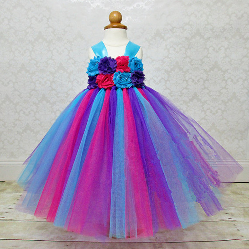 Colorful Flower Girl Tutu Dress Tulle Kids Princess Costume Rainbow Tutu Child Girls Party Christmas Halloween Birthday Dresses children girl tutu dress super hero girl halloween costume kids summer tutu dress party photography girl clothing