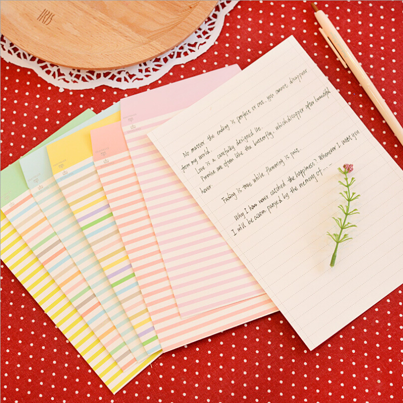 leuke brief schrijven Kleurrijke Lijn Strip Brief Set, Leuke Brief Schrijven Set Gift