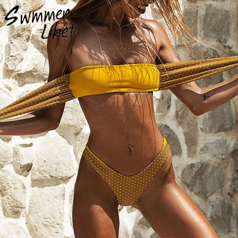 Front Tie Sexy Swimsuit 2019 Bandeau Polka Dot Bikini Set High Cut Bathing Suit Women Bathers Yellow Swimwear Female Two-piece