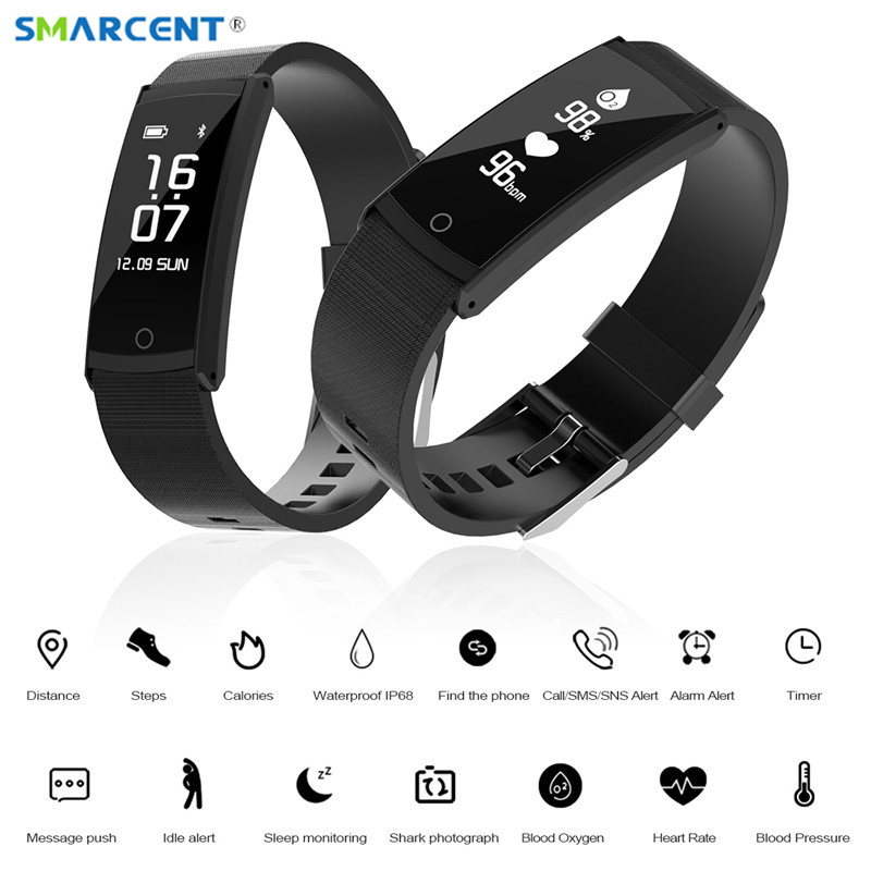 SMARCNET Activity Tracker Blood Oxygen Blood Pressure Monitor Smart Band IP68 Waterproof Swimming Bluetooth 4 0