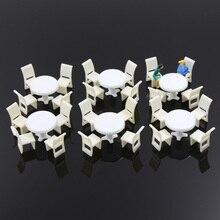 6 компл. Белый круглый обеденный стол стул Settee железнодорожная модель 1:50 O 1: 75 OO 1:100 TT масштаб ZY01 Модель Строительный комплект железнодорожное моделирование