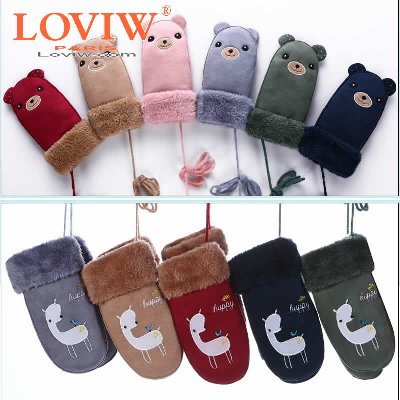 lovely hot bear children gloves winter leather mittens. Black Bedroom Furniture Sets. Home Design Ideas