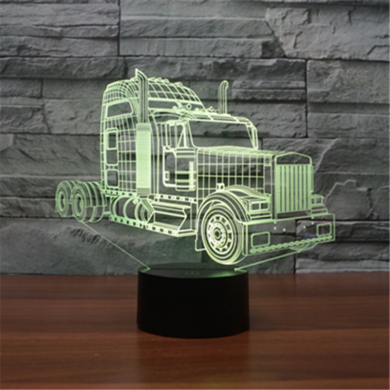 new truck 3D Night Touch Swith LED 3D Lamp 7 Colors acrylic visual lamp creative charge illusion lamp As Kids Toy Gift image