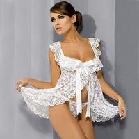 Erotic Lingerie Underwear Black Sexy Lingerie Babydoll Front Open Nighty Chemise Dress Sleepwear Sexy G String