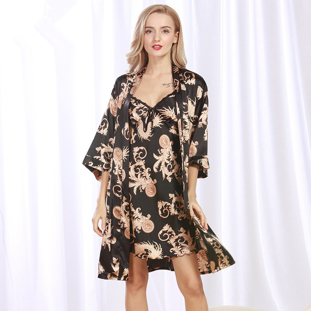 Летом Искусственного Шелка Ночные Одежды Банный Халат, Набор Женщин Халат Наборы 2 Шт. Банный Халат и Ночную Рубашку Набор Женская Спать Халат Плюс размер
