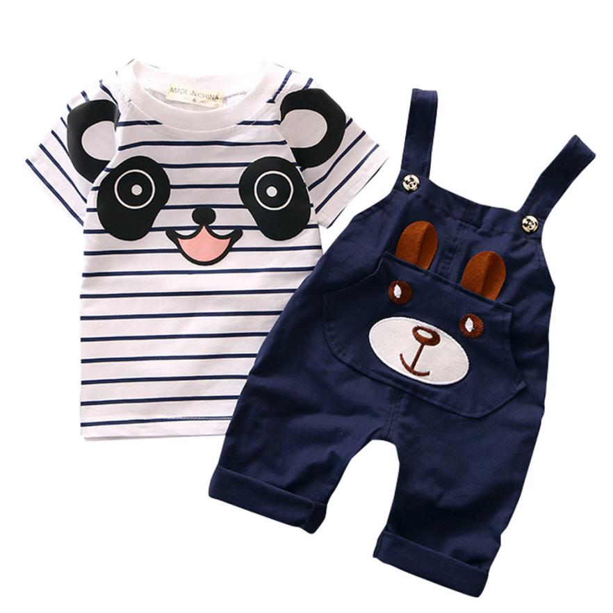 Summer infant boys and girls striped short-sleeved T-shirt + bear bib two-piece suit casual fashion toddler cute daily sports