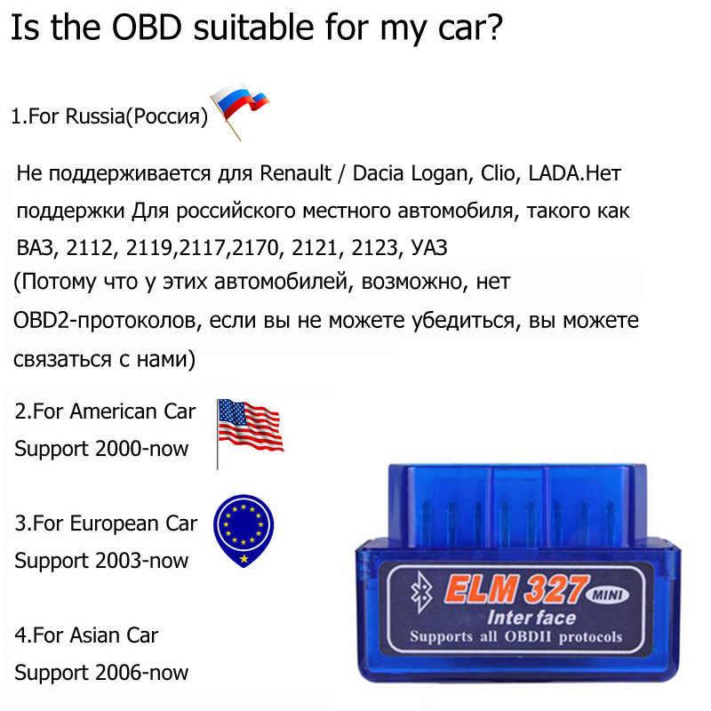10 PCS Elm327 V1.5 OBD2 Bluetooth Autoscanner עבור רכב Elm-327 2.1 ODB סורק אבחון אוטומטי מתאם רכב סורק עבור רוסיה
