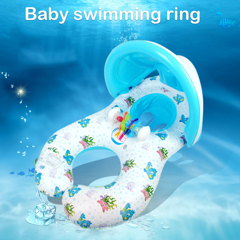 Baby Bath Bathtub Seat Sunshade inflatable baby boat Ring baby Swimming Ring Inflatable pool accessories