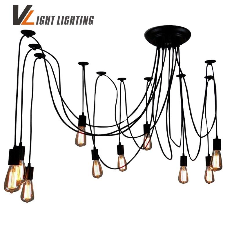 Moderno nórdicos Retro Edison bombilla de luz lámpara Vintage Loft antiguo ajustable DIY E27 arte araña lámpara de techo lámpara de luz