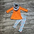 baby  winter OUTFITS girls 3 pieces sets with scarf baby girls fox clothing girls Fall boutique clothes orange top with fox pant